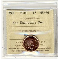 2010 Cents , Non Magnetic, ICCS MS66; Red.