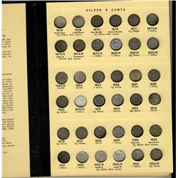 1858 to 1976 5 Cents Date Set, almost complete;  Lot includes 114 pcs (excluding only 1921) in old L
