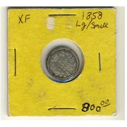 1858 5 Cents Large Date VF30.  Nice issue with lustre.