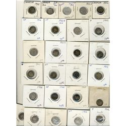 1902  to 1910  5 Cents Lot;  Includes 26 pcs VG to EF..  Basically all problem free with no key date
