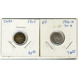 1902H  & 1905  5 Cents ;  Lot of 2 coins EF to AU with lustre.