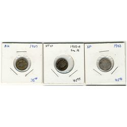 1903 5 Cents, 1903H & 1907;  Lot of 3 coins all VF+ to EF+.