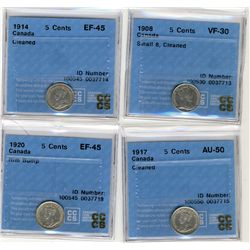 1908 5 Cents VF30, 1914 EF45, 1917 AU, 1920 EF45; Four CCCS coins all with problems.