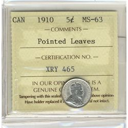 1910 5 Cents, ICCS MS63; Pointed Leaves.  Brilliant.