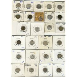 1911  to 1920  5 Cents Lot;  Includes 32 pcs VG to UNC.  A nice assortment, problem free with some d
