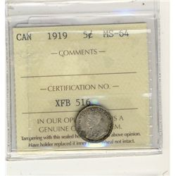 1919 5 Cents, ICCS MS64;  Lustrous with toning.