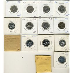 1922  to 1977  5 Cents Lot;  Includes 1922(2), 1927, 1931, 1934, 1942((6) circ, 1949, 1953(2), 1956,