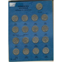 1922  to 1960  5 Cents Complete Date Set;  Includes complete collection by date in old blue Whitman