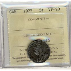 1925 5 Cents, ICCS VF20.