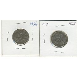 1925 5 Cents, 1926 Nr;  Two coins, F12.