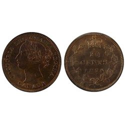 1874H 10 Cents, ICCS MS65;  Rare with gold toning.