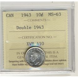 1943 10 Cents, ICCS MS63; Double Date.