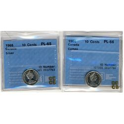 1966 10 Cents, CCCS PL66 Cameo, 1968 PL65 Cameo;  Two coins.