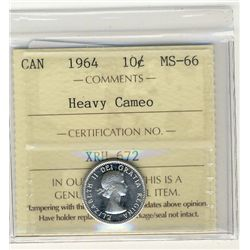 1964 10 Cents, MS66; Heavy Cameo. ICCS certified.