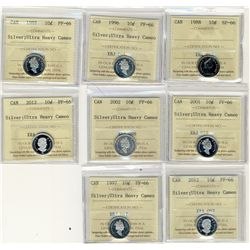 1988 SP66, 1996, 1997, 2001, 2002, 2012;  Eight ICCS coins, PF all UHC with some duplicates.