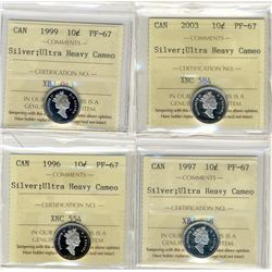 1996, 1997, 1999, 2003 10 Cents, ICCS PF67;  Four coins Ultra Heavy Cameo.
