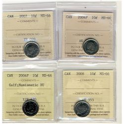 2004P, 2007, 2008 MS66 and 2004P Golf 10 Cents MS66 NBU;  Four ICCS coins.
