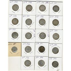 1911 to 1936 25 Cents Good to Fine.  Nineteen coins, includes 1915, no 1921 or 1927.