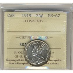 1919 25 Cents, ICCS MS62.