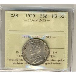 1929 25 Cents, ICCS MS62.