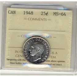 1948 25 Cents, ICCS MS64.