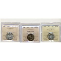 1953 LD MS60, 1953 LD and 1955 25 Cents, ICCS MS64;  Three coins.