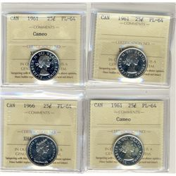 1961(3), 1966 25 Cents, ICCS PL66; Four coins, two with cameo.