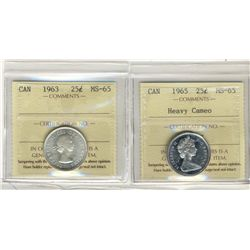 1963, 1965 25 Cents, ICCS MS65;  Two coins, 1965 Heavy Cameo.