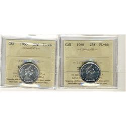 1966 25 Cents, ICCS PL66;  Two coins.