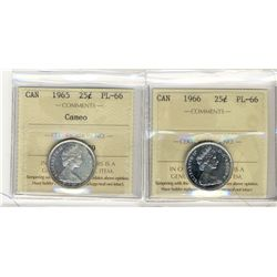 1966, 1965 Cameo 25 Cents, ICCS PL66; Two coins.