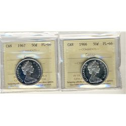 1966 and 1967 50 Cents, ICCS PL66; Cameo.