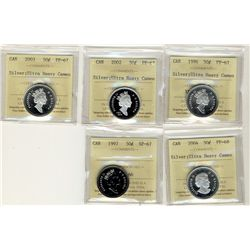 1996, 2002, 2003 PF67, 1997 50 Cents SP67 and 2004 PF68;  Five ICCS coins.  All Proofs Ultra Heavy C