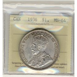 1936 1 Dollars, ICCS MS64.  Lustrous coin.