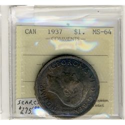 1937 1 Dollars, ICCS MS64; Nicely toned.