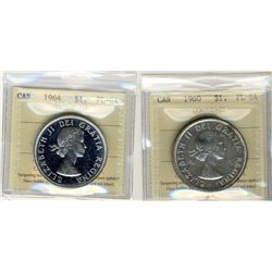 1960 and 1964 1 Dollars, ICCS PL64;  1964 Cameo.