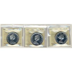 1963 and 1966 LgBds, 1 Dollars, ICCS PL65;  Cameo, three coins.