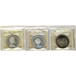 1964 Missng Dot MS60, 1965 Type V and 1966 LgBds 1 Dollars, ICCS MS63; Three coins, 1966 Heavy Cameo