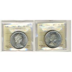 1964 Missing Dot and 1967 1 Dollars, ICCS MS63;  Two coins.