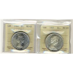 1964 Missing Dot and 1965 Type V 1 Dollars, ICCS MS63;  Two coins.