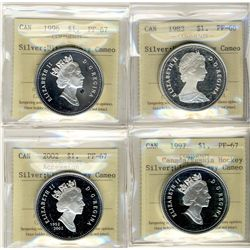 1983, 1996, 1997 and 2002 1 Dollars, ICCS PF67;  Lot of four silver coins, Ultra Heavy Cameo.
