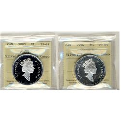 1996 and 2003 1 Dollars, ICCS PF68;  Two coins.