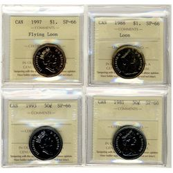 1988, 1997 Flying Loon & 50 Cents 1981, 1993 1 Dollars, ICCS SP66;  Four coins.