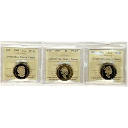 1996, 2003 and 2004 Loon PF67;  Three 1 Dollars, ICCS coins Ultra Heavy Cameo.