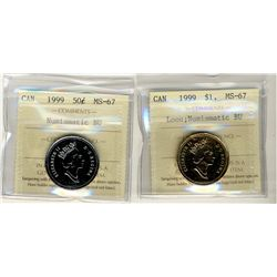 1999 Loon and 50 Cents 1999 1 Dollars, ICCS MS67;  Two NBU coins.