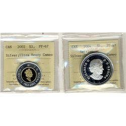 2004 Silv Settlement, 2 Dollars 2002 Silv 1 Dollars, ICCS PF67;  Two coins.
