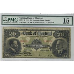 The Bank of Montreal 1914 $10 #258841 CH-505-54-12 PMG CH F15.