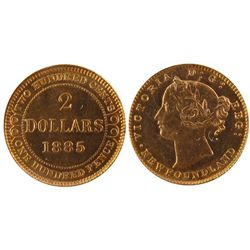 Newfoundland; 1885 $2 Gold ICCS MS64. Rare in this condition.