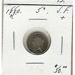 1880H 5 Cents VF+.