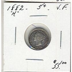 1882H 5 Cents, VF.