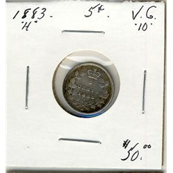 1883H 5 Cents, VG10.